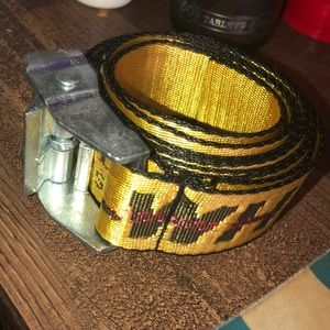 off white industrial belt silver buckle